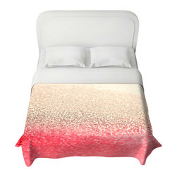 DiaNoche Designs - Duvet Cover - Gatsby Coral Gold - Lightweight and super soft brushed twill Duvet Cover sizes Twin, Queen, King.  Cotton Poly blend.  Ties in each corner to secure insert. Blanket insert or comforter slides comfortably into Duvet cover with zipper closure to hold blanket inside.  Blanket not Included. Dye Sublimation printing adheres the ink to the material for long life and durability. Printed top, khaki colored bottom, Machine Washable, Product may vary slightly from image.