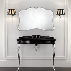 Vanities, Washstands, Pedestals... - Infused with rich art deco influence this consolles top is black ceramic with a contrasting metallic legs. Top also available in white ceramic and legs also available in black or white ceramic.