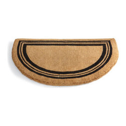 """Grandin Road - Non-Monogrammed Coco Border Half-Round Door Mat - 100% coir construction. Stenciled black triple-line border and monogram. Single-letter monogram available in letters A to Z. Available without a monogram. Measures 1-1/2'"""" thick. Add a monogram to our Half-round Coco Mat for a customized and elegant greeting at your door. Each thick, durable, 100% coir mat is crafted by artisan weavers and finished with black stenciling.  .  . .  . . Please note: Personalized items are nonreturnable."""