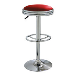 Buffalo Tools - AmeriHome Soda Fountain Style Bar Stool - Red - Soda Fountain Style Bar Stool - Red by AmeriHome The AmeriHome Soda Fountain Style Bar Stool lends a cool retro vibe to any game room, basement, bar, kitchen, or shop. The bar stool has a design reminiscent of the days of diners and drive-ins, and features a mirror-like polished chrome base and a red vinyl seat for a hint of vintage retro style. The Soda Fountain Style Bar Stool is designed for maximum comfort. With a large 15.75 inch wide padded vinyl 360 degree swivel seat, a built in footrest and an adjustable seat height of 23.5 to 31.75 inches. This stool is comfortable for kids and adults. Vintage retro style Adjustable seat height from 23.5 to 31.75 in. 15.75 in. padded vinyl 360 degree swivel seat 330 lbs. weight capacity Sold individually
