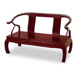 China Furniture and Arts - Rosewood Chow Leg Love Seat - Dubbed as Monk Chair for its bare decoration, our rosewood love seat is as pleasant to look at as comfortable to sit on. The graceful curve of the arms projects a sense of movement. The key feature of this sofa is the inwardly curved legs, a design know as the Chow leg. Constructed entirely by hand with joinery technique for long lasting durability. Hand applied dark cherry finish.