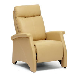 Baxton Studio - Baxton Studio Sequim Tan Modern Recliner Club Chair - Lovely tan faux leather and intricate detailing make our Sequim Recliner a star. Perfect as a living room chair, den chair, club chair, or accent chair, versatility is the name of the game. To recline, brace yourself by gripping the armrests and pushing backward on the chair's backrest. This will also cause the chair's footrest to extend. The contemporary recliner is made with a steel mechanism, foam cushioning, and black plastic disc feet. Made in China; assembly is required. To clean, wipe with a dry cloth. This style is also offered in black (sold separately).