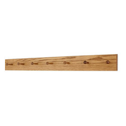 "PegandRail - Solid Oak Shaker Peg Rack 4.5"" Extra Wide - Hand Crafted in the USA, Golden Oak, - Made in The USA"