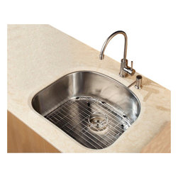 Kraus - 23 in. Single Bowl Kitchen Sink w Faucet and Soap Dispenser - Add an elegant touch to your kitchen with unique Kraus kitchen combo