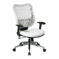 Office Star - Space Seating 88 EPICC Series Unique Self Adjusting Ice SpaceFlex Back & White V - Unique Self Adjusting Ice SpaceFlex Back and White Vinyl Seat Executive Chair. Self adjusting SpaceFlex Backrest Support System with Raven Mesh Seat, One Touch Pneumatic Seat Height Adjustment, 2-to-1 synchro Tilt Control with Adjustable Tilt Tension Control, Height Adjustable Arms with Forward/Backwards Adjustable PU Pads, Polished Aluminum Base.