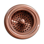 TCS Home Supplies - Kitchen / Bar Copper Sink Basket Strainer 3.5-inch - Kitchen Bar Sink Basket Strainer. Standard Drain Openings. Copper Finish.