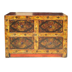 Golden Lotus - Tibetan Jewel Eyes Golden Yellow Graphic Dresser Cabinet - This is a chest of drawers / dresser with golden yellowish brown color graphic of Tibetan Jewel balls , rats and treasure items on the surface. It is a nice decoration piece with its meaningful and interesting theme.