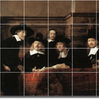 Picture-Tiles, LLC - Sampling Officials Of The Drapers Guild Tile Mural By Rembrandt - * MURAL SIZE: 24x36 inch tile mural using (24) 6x6 ceramic tiles-satin finish.