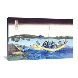 """Artsy Canvas - Ferry Leaving The Dock 36"""" X 24"""" Gallery Wrapped Canvas Wall Art - Ferry Leaving the Dock - Katsushika Hokusai (1760 beautifully represented on 36"""" x 24"""" high-quality, gallery wrapped canvas wall art"""