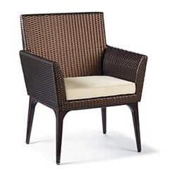 Frontgate - Tribeca Dining Arm Chair Cushion, Patio Furniture - Premium, high-performing fabrics. UV-treated to resist fading. 100% solution-dyed and woven for superior color fastness and longevity. High-resiliency, high-density foam core with soft polyester wrap provides years of support without sagging. Includes cushions only; all furniture pieces sold separately. Our collection replacement cushions instantly update the seating with comfort and all-weather endurance. The cushions' high-performing fabrics resist fading and mildew, and are easy to clean. Multiple layers of fill help the cushions maintain their loft. . . . . . Clean with mild soap and water or a mild solution of water and bleach.