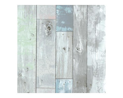Brewster Home Fashions - Dean Blue Distressed Wood Panel Wallpaper Bolt - With a look that can transition from beachy chic to weathered and rustic this distressed wallpaper invites simplified beauty to walls with a wood panel design in a mirage of coastal inspired hues.