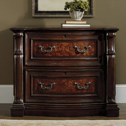 Hooker Furniture - Hooker Furniture Grand Palais Lateral Filing Cabinet - Brown - 5272-10466 - Shop for File and Storage Cabinets from Hayneedle.com! For those who appreciate craftsmanship and elegant style when it comes to home decor a clunky metal filing cabinet just won t cut it. Thankfully the Hooker Furniture Grand Palais Lateral Filing Cabinet - Brown is here to offer style and function in one gorgeous piece. This artfully crafted cabinet is constructed with walnut mapp burl ebony and cherry veneers over sturdy hardwood solids resin and engineered wood. Molded ornamentation graces each side of the desk s two drawers while the top of the cabinet features a walnut veneer inlay trim that adds a touch of understated whimsy.While the cabinet s beauty is enough to be admired on its own its functionality is not to be overlooked. Two locking file drawers offer ample space to keep important documents safe and neatly organized. Both drawers feature a pendaflex filing system which can accommodate both letter and legal files. Long-lasting convenience and ornate traditional style make this filing cabinet a beautiful addition to any home office.Construction of Hooker FurnitureHooker Furniture chooses solid woods and select wood veneers over wood frames to construct their high-quality pieces. By using wood veneer pieces can be given a decorative look that can't be achieved with the use of solid wood alone. The veneers add beautiful accents of color and design to the pieces and are placed over engineered wood product for strength. All Hooker wood veneers are made from renewable resources and are located primarily on the flat surfaces of the furniture such as the case tops and sides.Each Hooker furniture piece is finished using up to 30 different steps including 13 steps of hand-sanding and accenting. Physical distressing is done by hand. Pieces receive two to three coats of solid lacquer to create extra depth and add durability to the finish. Each case frame is assembled usin