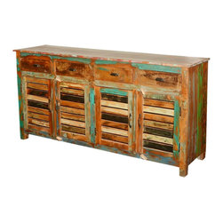 "Sierra Living Concepts - Reclaimed Wood Shutter Door Sideboard Cabinet - Farmhouse design includes classic elements like shutter doors and wrought iron hardware. Our Paint Box Shutter Door 71.5"" buffet works with rustic and country style interiors. The eco-friendly handmade cabinet is built with reclaimed wood from Gujarat. The surfaces have been naturally seasoned over time, and we honored this process; no extra paints or stains are added."