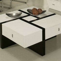None - Jumeirah Coffee Table - Add a stylish touch to your decor with this wooden coffee table. A white wood with a glossy black design highlights this durable table.