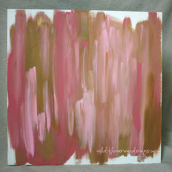 Gold & Pink Abstract Painting, Original Art on Canvas ~ hand signed - Original acrylic painting, on stretched, back splined, heavyweight, cotton canvas.