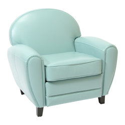 Great Deal Furniture - Hayley Blue Leather Cigar Club Chair - The great design makes this a chair to watch TV, relax after a long day, or take a nap!  Its oversized dimensions make it extremely cozy and comfortable. The look makes you want to sit in it and the modern blue color will enrich your living room.
