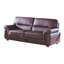 Beverly Hills Furniture Inc. - Sienna Contemporary Leather Sofa, Black - The sofa is upholstered in great quality bycast leather available in brown or black colors. This piece features premium thick top grain leather with matching vinyl on side and back and kiln dried solid wood frame construction for durability with reinforced corner blocks for added strength.