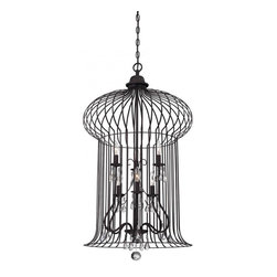 Joshua Marshal - Six Light Crystal - Clear Forged Black Open Frame Foyer Hall Fixture - Six Light Crystal - Clear Forged Black Open Frame Foyer Hall Fixture
