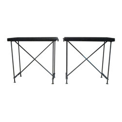 R.T. Facts - Pair of Iron Tray Tables - Simultaneously rugged and chic, these super-sleek tray tables are begging to be used in your bar area. Use one to showcase bottles of wine and spirits, the other for glassware, a shaker, cocktail napkins and more. Not big on entertaining? The trays can be used as ultra-cool side tables for living room accessories too.