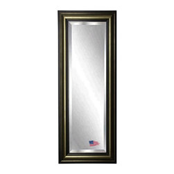 Rayne Mirrors - American Made Stepped Antiqued 24.5 x 63.5 Slender Beveled Body Mirror - This stately tall mirror has shades of warm aged metal color tones in its unique rounded profile.  Its distinguished feel it a sure stand out in any decor. Each Rayne mirror is hand crafted and made to order with from American products.  All hardware included for vertical or horizontal hanging, or perfect to lean against a wall.
