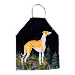 Caroline's Treasures - Starry Night Whippet Apron - Apron, Bib Style, 27 in H x 31 in W; 100 percent  Ultra Spun Poly, White, braided nylon tie straps, sewn cloth neckband. These bib style aprons are not just for cooking - they are also great for cleaning, gardening, art projects, and other activities, too!