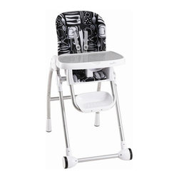 Evenflo - Modern High Chair - Features: -High chair.-Easy smooth surfaces easy wipe clean dishwasher safe removable tray can be stored on back of chair.-Adjusts to ensure comfortable fit 3 position recline 6 height adjustments 4 positions tray.-Integrated 5 point harness hold child in place up to 40 lbs.-Distressed: No.Dimensions: -Overall Product Weight: 22 lbs.