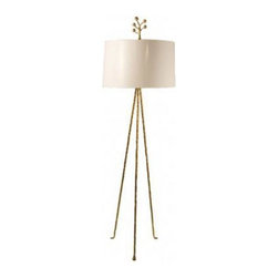 Stray Dog Designs - Stray Dog Designs Mod Pod - Simple and mod, the Mod Pod floor lamp takes sophisticated to a whole new level. Iron base with white painted paper shade. Gold leaf funky finial is made of papier mache. The Mod Pod is a HOT DOG  lamp, so you won't find it in stores.