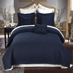 Royal Tradition - RT Luxury Checkered Quilted Microfiber 3 Piece Coverlet Set-Navy - Luxury Checkered Quilted Wrinkle Free Microfiber 3 Piece Coverlet Set- Navy-Experience the comfort and soft touch feel as if these linens were made from Egyptian Cotton. This Coverlet Set is made of 100% high strength Microfiber wrinkle free yarns that will stay soft for years to come.  Machine Washable
