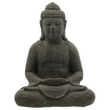Asian Garden Sculptures Charcoal Grey Cast Stone Garden Buddha Statue