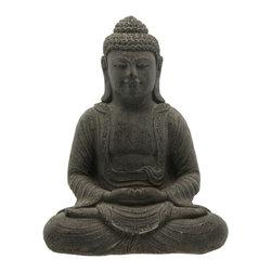 Charcoal Grey Cast Stone Garden Buddha Statue - Serene dark grey textured Buddha statue