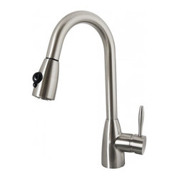 """Virtu USA - Brushed Nickel Single Hole Kitchen Faucet - The Neptune single handle kitchen faucet comes complete with housing designed to resist the wear and everyday use and then some. Take notice in the beautiful modern design accompanied by an ADA compliant lever handle for a much more simpler accessibility. It is immaculately designed with simplicity while maintaining multifunctional purposes. The Neptune kitchen faucet was designed with both luxury and practicality in mind. Finish: Brushed Nickel; Control Handle: Single Lever Water and Temperature Control; Configuration: Single-Hole; Material: Solid Brass with Ceramic Cartridge; Dimensions: 2.8""""W X 9""""D X 16""""H; Included: All Mounting Hardware and Hot/Cold Waterlines; Standard US Plumbing Connections"""