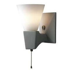 """Justice Design Group - Justice Design Group CER-7010 Single Light 8"""" Interior Geo Rectangular Single Ar - Euro Classics 8"""" Interior Geo Rectangular Single Arm Wall Sconce Rated for Damp Locations from the Ceramic CollectionThis contemporary / modern 8"""" wall sconce from the Euro Classics Collection is rated for damp locations and interior use.   For your convenience this fixture is offered in a multitude of finishes and the unfinished ceramic finish option (Bisque) is paintable, allowing you to customize this fixture to suit any interior.  The openings in this fixture allow light to wash up from the fixture while the multiple lamping options allow you to design this fixture to fit your lighting needs.From an elegant lamp atop a contemporary end table to a dramatic sconce illuminating a formal entryway, Justice Design offers a wide array of lighting solutions for residential and commercial settings. Create a mood, complement a theme, or simply add the perfect accent with a Justice Design decorative lighting fixture.  With over 200 different shapes and more than 35 different finishes, you can customize our fixtures to suit any decor. From paintable Bisque to faux finished masterpieces hand crafted by skilled artisans, Justice Design offers endless design possibilities for any environment - indoor or outdoor."""