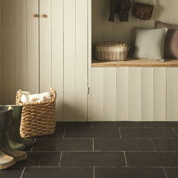 The Earthworks Collection - Greyfriars limestone tiles in black look really striking in an entrance or hallway.