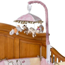 Cocalo - CoCaLo Jacana Musical Mobile - Your baby can softly fall asleep to the lullaby of Rock-a-Bye Baby with this adorable musical mobile. Plush elephants and zebras float under the colorful canopy, making it a great coordinate to the Jacana collection.