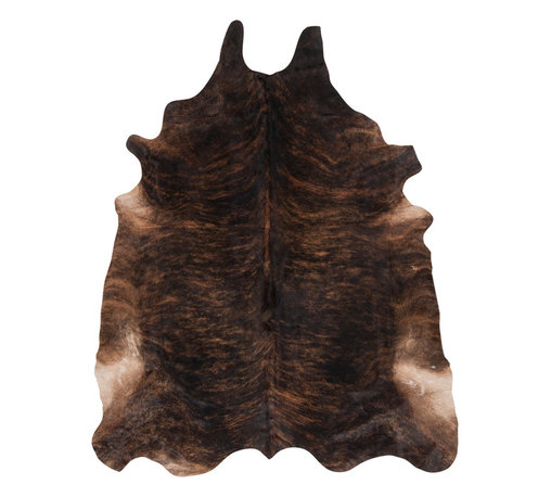 Kathy Kuo Home - Shiraz Global Bazaar Brown Brindle Cowhide Rug - As a classic modern decor element, this natural hide is a perfect way to liven up any room. Hand selected for shininess and softness, this hide is of the highest quality. Because of its naturally stain-resistant nature, this rug is suitable for use in high traffic areas.