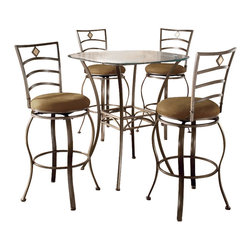 Hillsdale - Hillsdale Brookside 5-Piece Bar Height Bistro Table Set with Marin Stools - Hillsdale - Pub Sets - 4815PTBSMN5 - Hillsdale Furniture's versatile bistro collection features the panache of a pub with all comfort and convenience of full scale dining. This square bar height table is topped with a stunning glass top with round corners. The Marin bar stool upholstered in the always popular beige microfiber and finished in a flecked brown features a traditional slat back accented by a fossil stone filled diamond motif.