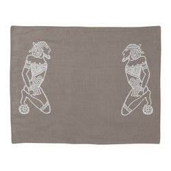 Cricket Radio - Alexandria Devotion Placemat, Set of 2, Stone/White - Dine like an Egyptian — or take a more traditional route — with this set of two reversible placemats. Ancient devotees on the front and stripes on the back are hand-printed in ecofriendly inks on soft, Italian linen. In your choice of colors, you'll be hopelessly devoted to the style they bring to table.