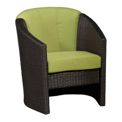 Home Styles Riviera Green Apple All-Weather Wicker Barrel Accent Chair - With a dark brown finish with gold streaks and a beautiful apple green cushion, the Home Styles Riviera Apple Green All-Weather Wicker Barrel Accent Chair is a modern outdoor chair that shows off your love of style. Fade-, moisture-, and weather-resistant resin wicker is crafted from Cycroplene that is 100% recyclable as well as moisture- and weather-resistant. Strong and durable, this chair has a rust-resistant, powder coated aluminum frame with pieces that bolt together for added support and sturdiness. Available in a deep, warm brown with gold streaks that are set off by the stone colored cushions, this chair is easy to maintain with mild soap and water. With cushions made from polyurethane with a polyester fiber wrap that is soft to the touch, you'll be able to rest comfortably for hours. Adjustable levelers are designed to accommodate uneven surfaces so you won't have to worry about irritating and uncomfortable rocking. Environmentally friendly, this gorgeous chair is also an economical choice that beautifully complements your existing outdoor furniture and decor.Additional FeaturesCycroplene construction is 100% recyclableCycroplene is moisture- and weather-resistantEasy to maintain with mild soap and waterAdjustable levelers accommodate uneven surfacesPieces bolt together for added support and sturdinessAbout Home StylesHome Styles is a manufacturer and distributor of RTA (ready to assemble) furniture perfectly suited to today's lifestyles. Blending attractive design with modern functionality, their furniture collections span many styles from timeless traditional to cutting-edge contemporary. The great difference between Home Styles and many other RTA furniture manufacturers is that Home Styles pieces feature hardwood construction and quality hardware that stand up to years of use. When shopping for convenient, durable items for the home, look to Home Styles. You'll appreciate the value.
