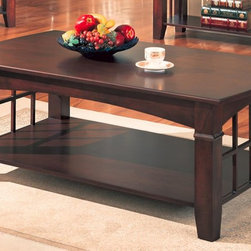 Coaster - Abernathy Rectangular Coffee Table - Casual style. Bottom shelf. Smooth tops with gently curved ends. Notched tapered legs. Smooth edges. Shelf for books, magazines and other small accent items. Made from wood veneers and solids. Deep dark cherry finish. 50 in. W x 28 in. D x 19 in. H. WarrantyAt the center of your living room seating group, this casual coffee table adds great style and functionality. The arched sides with open grid work offer a subtle and sophisticated mission influence, with a contemporary casual twist. This cocktail table is sure to complement your living room decor.