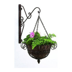Kenton Wall Mount Basket - Spring is here and it's time to start thinking about potting up some wonderful greenery for the coming season.  This beautiful hanging planter would look lovely anywhere.  I think it would be especially beautiful out on a porch or deck.