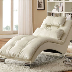 Coaster - 550078 Chaise - White - Create a contemporary look in your room with this pillow-top chaise featuring an arched base for support and contrasting stitching throughout. Match this white chaise with a sofa bed and ottoman (#300291/300293).