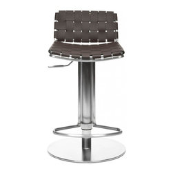 Safavieh - Floyd Gas Lift Barstool - Choose the Floyd Gas Lift Barstool for stylish comfortable seating that adjusts to your needs. With brown woven bonded-leather seat and back contrasting a sleek stainless steel base, pedestal and footrest, Floyd offers fashion and function. Designed for counters and people of varying heights, Floyd�s seat height can be positioned from 22.8� to 31.9.� Assembly required.