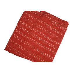 Modelli Creations - Solid Color Kantha Throw, Red, Throw/Twin - Our popular Kantha Throws are now available in solid colors with beautiful contrast detailed stitching. Perfect as a lightweight bedspread, blanket to snuggle up in, or quilt for picnicking!
