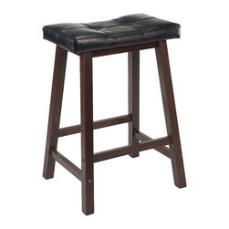 Winsome - 29 in.  Cushion Saddle Seat Stool - Update kitchen stools with this stylish Saddle Stool with Black Faux Leather cushion seat. Solid wood base in Antique Walnut Finish. Ready to assemble.
