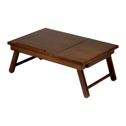 Winsome - Alden Lap Desk - This lap top desk has flip top, pull out drawer, made of solid wood in Walnut finish. Great for working in bed or lounging in a sofa or pool. Flip top size 13.96 in. x 13.78. Inside dim of drawer 6.3 in. x 5.57 x 1.10. Lap Clearance 20.56W x 6.3 in. H