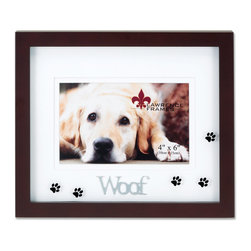 "Lawrence Frames - Walnut Wood 4x6 Woof Picture Frame - Matted Shadow Box Dog Frame - Beautiful dark walnut brown wood picture frame with black paw prints printed on glass and double bevel cut mat with silver metal lettering ""Woof"".  High quality black wood backing with an easel for horizontal table top display, and hangers for  horizontal wall mounting.    Hand finished 4x6 wood picture frame is made with exceptional workmanship and comes individually boxed."