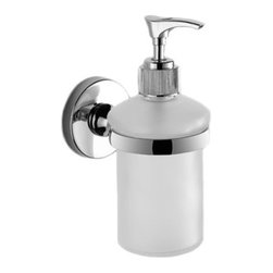 Gedy - Wall Mounted Frosted Glass Soap Dispenser - It all comes out in the wash. You ran out of vanity space and now there's no room for your soap. Not to worry. This handsome and simple soap dispenser fastens easily to the wall, making sure that it's always at your fingertips.