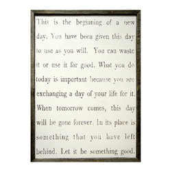 Kathy Kuo Home - This Is The Beginning' Simplicity Vintage Reclaimed Wood Wall Art - Small - How will you use each new day? This mantra for your wall will remind you to enjoy and make the most of life. It's printed and hand-framed with salvaged wood for a rustic, vintage feel. This would be great hanging in an entry as a chance to reflect before rush hour.