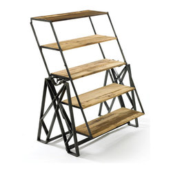 Go Home - Incredible Table & Bookshelf - The essence of utility, this one-of-a-kind piece beautifully blends form and function! Crafted from steel and reclaimed wood, it can serve as a hip and trendy table, a stepladder or a shelving unit for books or pantry items. This piece pairs well with many of our other Urban Loft Furniture items for a home or apartment with a clean, industrial vibe.