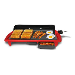 Elite Cuisine - Red Electric Indoor Griddle - Hot and flat, this electric griddle allows for a variety of cooking options while lending its colorful modern design to your kitchen décor.   24.64'' W x 4.15'' H x 12.36'' D Aluminum Hand wash Imported